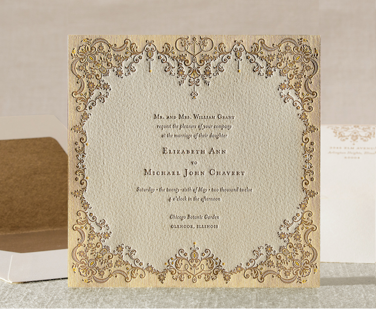 Fine China Inspired Letterpress Invitations
