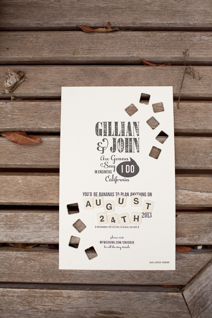 Letterpress Bananagrams Save the Date